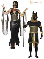 Mens Ladies Egyptian Goddess God Halloween Wild Dog Fancy Dress Couples Costume