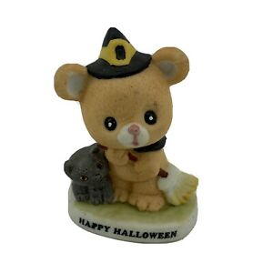 Happy Halloween Bear Witch Black Cat Ceramic Figurine