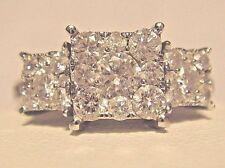 AFFINITY DIAMOND 3-Stone CLUSTER Princess Shaped 1cttw Ring sz 10 NWT QVC $1295