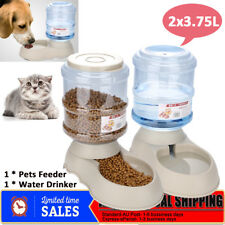 2x 3.75L Automatic Pet Cat Dog Auto Feeder Food Water Bowl Bottle Dispenser NEW