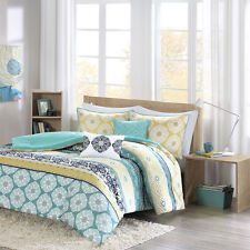 BEAUTIFUL MODERN TROPICAL BLUE GREEN TEAL YELLOW WHITE MEDALLION COMFORTER SET