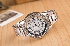Fashion Women Lady Roman Stainless Steel Band Crystal Analog Quartz Wrist Watch