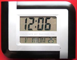 Smart Sound Control Light LCD Large Digital Wall Clock Alarm Time Calendar Desk