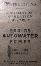 Gould's Autowater Pumps Operator's, Parts & Service Manual 36pg Irrigation Water