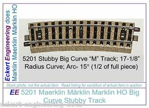 """EE 5201 GD (Fair to Good) Marklin HO """"M"""" Track Stubby Big Curve 5201GD 15 ties"""