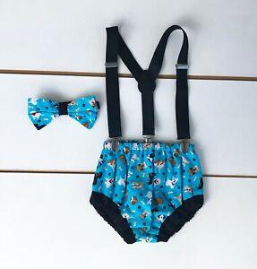 Puppy Dog 3 Piece Cake Smash Outfit - First Birthday Set Baby Boy