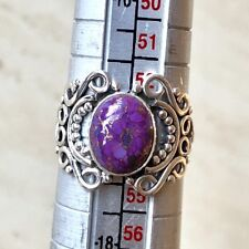 GORGEOUS PURPLE COPPER TURQUOISE & 925 STERLING SILVER RING UK SIZE N