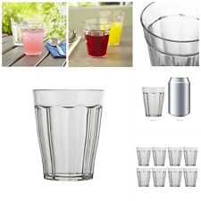 Clear Plastic Juice Tumblers Faceted Water Glasses Dining Drinkware Set Of 8 New