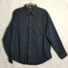 Perry Ellis Heathered Gray Windowpane Checks Slim Fit Western Shirt | Men's XL