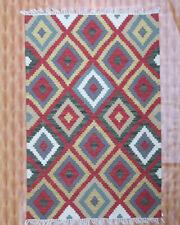 Wool Garden Area Rug 4x6 Kelim Carpet Floral Afghan Multi Color Kilim Hand Woven