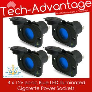 4 X 12V FLUSH MOUNT BLUE LED ILLUMINATED POWER SOCKET PLUG - BOAT/MARINE/CARAVAN