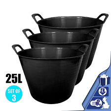 Black 3 x 25L Litre Flexi Tub Storage Container Plastic Bucket Tubs Feeding Trug