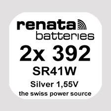 2x Renata 392 Uhren-Batterie Knopfzelle SR41W AG3 Silberoxid Blisterware Neu