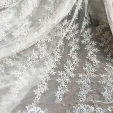 Ivoire Broderie Perlé pour Mariée Tissu Dentelle Floraison Robe de DIY 0.5Y