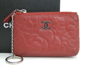 CHANEL Coin Key Case Holder Camellia CC Logo Leather Red Italy 31180088700 K