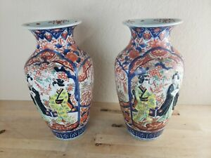 Large pair Japanese Imari porcelain vases, Hand Painted, relief figures,1890's