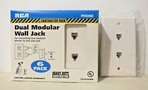 6 Pack White  RCA Phone Dual Modular Wall Jack TP2536WH Contractor Pack NIB