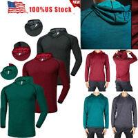 Men's Solid Hoodie Long Sleeve Shirt Sweatshirt Gym Muscle Basic Tee Top T-shirt