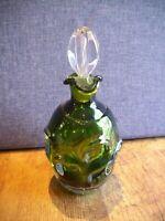 Vintage Aseda Glasbruk Bo Borgstrom Green Glass Thumbprint Decanter & Stopper