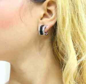 925 Solid Silver Composed Of A Row Of Onyx And Two Lines Of CZ Hexagon Earrings