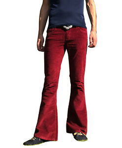 FLARES Burgundy Mens STRETCH bell bottoms Cords hippie vtg indie trousers 70s