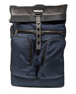 New Tumi Alpha Bravo London Roll-Top Backpack - Navy Blue Nylon * 232388NVY