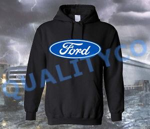 Licensed Print Ford Logo Black Hoodie Sweatshirt Sweater Shelby Mustang Truck