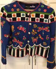 Michael Simon Butterflies Flowers Ladybugs Sweater Size Medium Sold As Is