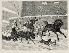 BLACK PORK DELIVERY BOY RACES WHITE MILK DELIVERY KIDS, SLEIGHS DONKEY HORSE NYC