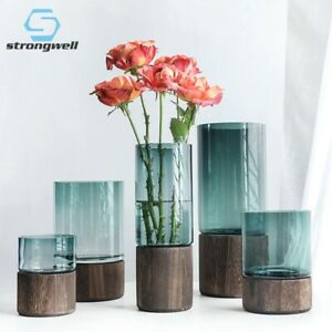 Nordic Solid Wood Base Glass Vase/Plants Holder  Luxury Wedding/Home Decor
