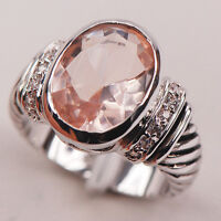 Morganite White Topaz 925 Sterling Silver Gemstone Ring Size 6 7 8 9 10 F635
