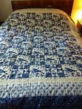 Handmade Blue and White Quilt   -  Hand Quilted,  New Never Used