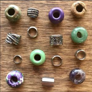 25 Dread Beads Gemstone Stainless Steel Pack 6/8mm Hole 1/4- 5/16 Inch Dreadlock