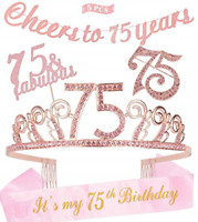 75th Birthday Decorations Party Supplies, Pink 75th Birthday Tiara, 75th Pink 75