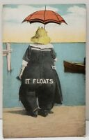 IT FLOATS, Fat Lady in Victorian Swimsuit at Beach Seaside Postcard C22