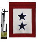 Two Blue Star Service Americana Military Applique Garden Pole Flag Set Banner