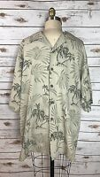 Tommy Bahama Mens Shirt Beige Floral 100% Silk Short Sleeve Hawaiian Size Medium