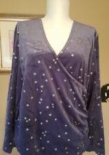Shirt Ladies L Gray w/ Silver Stars SLIMMING WRAP SHIRT Large Top   NEW
