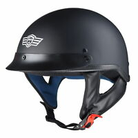Motorcycle Half Face Helmet DOT Approved Motorbike Cruiser Chopper Matt Black XL