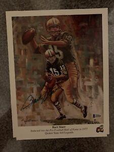 Bart Starr Autographed Green Bay Packers Football 9x12 Lithograph Beckett COA