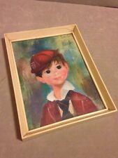 Soulet Doe Eyed Boy Framed Vintage Print Mid Century Kitsch Picture