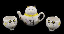 Katze japanisch Service für The Maneki Neko 1 Teekanne und 2 Tassen aus Keramik