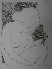 Claude NICAUD gravure femme  NU AUX FLEURS 124/200 signé