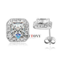 18K White Gold Plated made with Swarovski Crystal Square Shape Stud Earrings