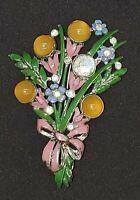 Vintage Large Enamel Glass Bead Rhinestone Flower Brooch for Repair