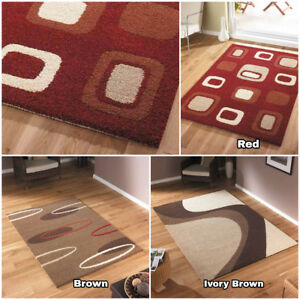 LUXURIOUS BOX OVAL WAVE DESIGN SERENE CLEARANCE FLOOR RUGS IN RED IVORY BROWN