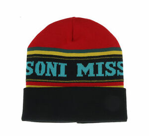 Missoni Red/Black Warm Knit Colorblock Logo Beanie