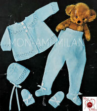 Vtg Knitting Pattern Copy BABY PRAM SUIT SET LAYETTE COAT LEGGINGS BONNET MITTS