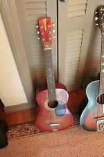 Encore guitar red brown 70's, 6 string acoustic no bridge, avg.cond 1/2 size