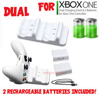 For XBOX ONE Controller Dual Charging Dock Station Charger White + 2 Battery USA